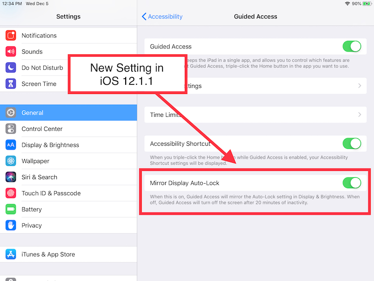 guided access fixed with new setting fixes bug in iOS12